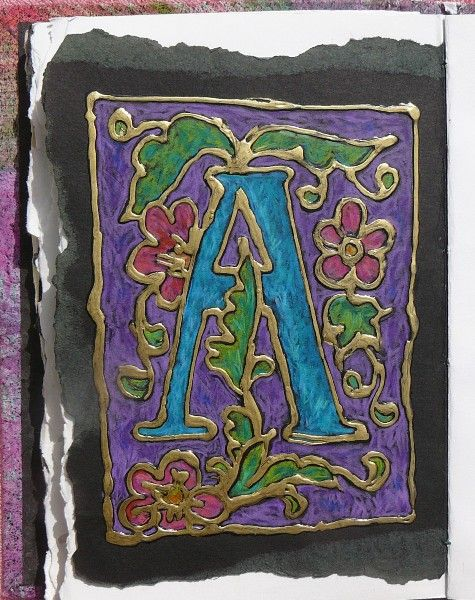 Illuminated Manuscript Letters.  Elmers glue on black paper for outline.  Chalk pastels aren't as vibrant on black once you've smeared them into the corners and sides  (done several before), but vibrant Prisma colored pencils will work.  The cool thing is the gold paint pen to make it look like a stained glass window.  Very cool!  Tapestry of Grace - Year 2 Unit 1 project