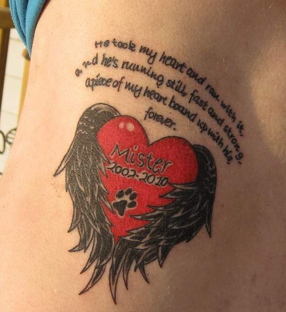 pet memorial tattoo | he took my heart and ran with it and he s running still fast and ...
