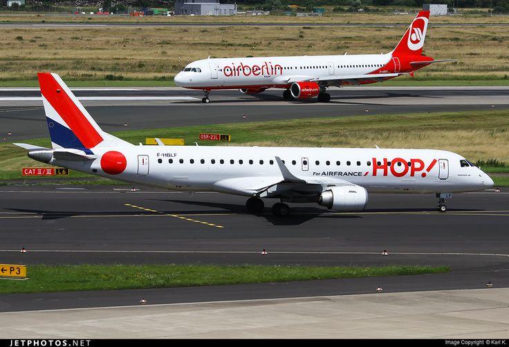 Embraer ERJ-190LR, HOP!, F-HBLF, cn 19000158, 100 passengers, HOP! delivered 31.3.2013 (ex Régional). Active, for example 30.9.2016 flight Paris - Oslo. Foto: Dusseldorf, Germany, 2.7.2016.