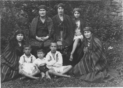 A family dressed in national rural style, Miechov Kielce, Poland- prewar