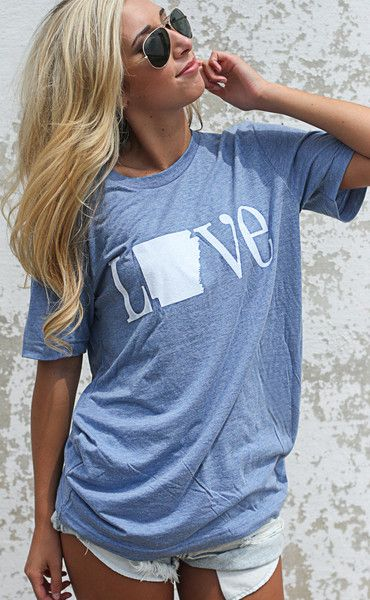charlie southern: classic state love t shirt- Arkansas [light blue]