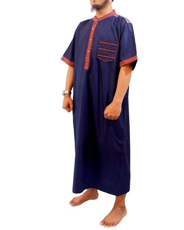Jubah Muslim Pria Marocco Gamis Pria lengan pendek Kerah Shanghai-Jubah Samase-Navy Maroon