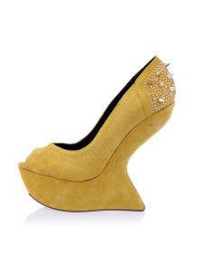 High Heels Yellow Peep Toe Spikes Rhinestone Women's Wedge Shoes