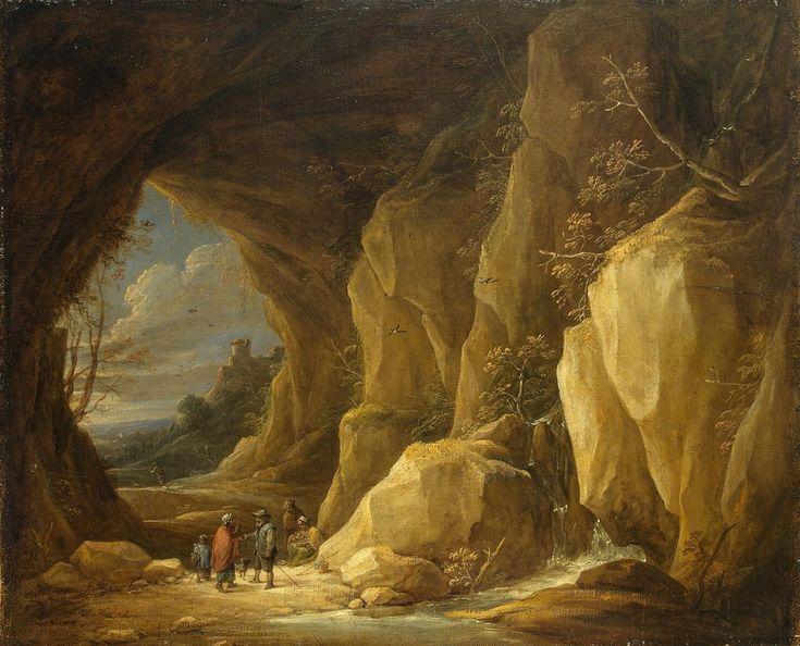 Давид Тенирс Младший. Пейзаж с гротом и группой цыган, Эрмитаж Год: 1640-е