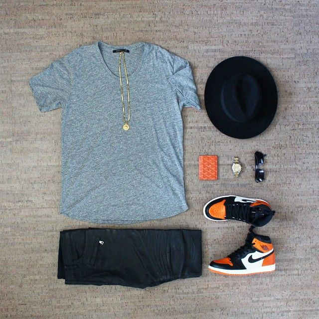 "@outfitgrid // #outfitgrid  Tee: John Elliot + Co UNeck Hat: Saint Laurent  Waxed Denim: Balmain Kicks: Jordan 1 ""Shattered Backboard"" Wallet: Goyard Watch: Rolex Datejust II Shades: Louis Vuitton Chain: Versace"