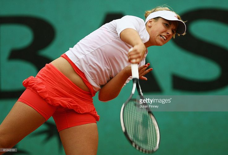 Sabine Lisicki of Germany serves during the Women's Singles first round match against Elena Vesnina of Russia on day three of the French Open at Roland Garros on May 27, 2008 in Paris, France.