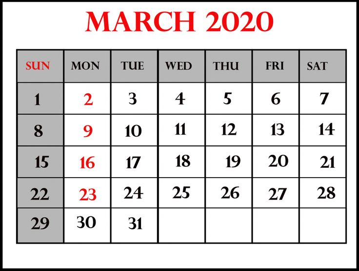 March 2020 Calendar Printable Template in PDF Word Excel ...