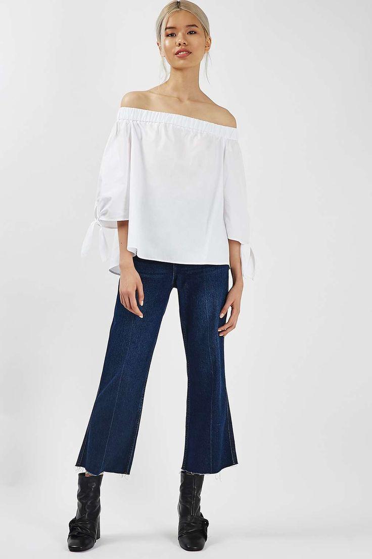 Longline Poplin Bardot Shirt