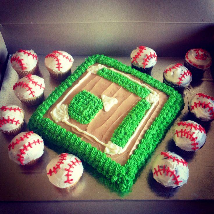Gâteau terrain de baseball et cup cake balle de baseball ⚾️