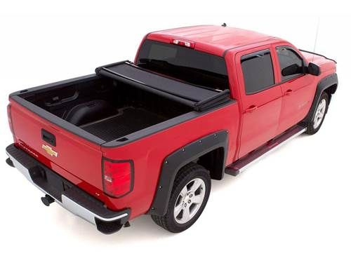 Lund Genesis Elite Tri-Fold Tonneau Cover - Maintenance free fabric - Black matte finish - Allows partial use of truck bed