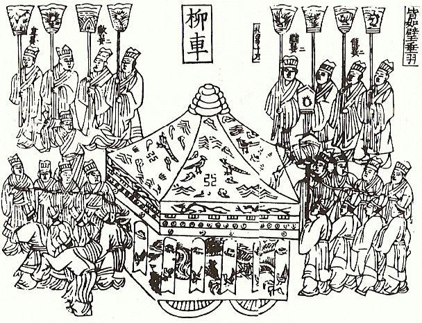 Art Pin XIV-XVII DIN Ming Carroza funebre del emperador Xilografia.gif (608×466)