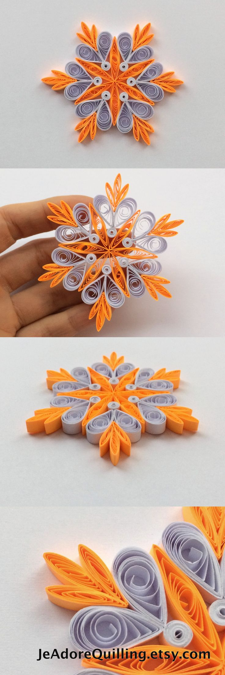 Snowflakes Neon Orange White Christmas Tree Decor Winter Ornaments Gift Toppers Fillers Office Corporate Paper Quilling Quilled Handmade Art