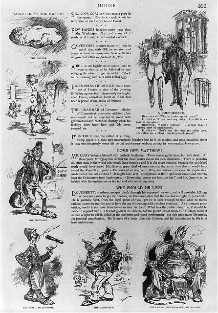 Evolution of the Murphy- Caricature of Irishman as successful immigrant to America: first as Irish potato (murphy); then as farm boy, newly-arrived immigrant, policeman, alderman, and finally as Grand Sachem (Tammany Hall).