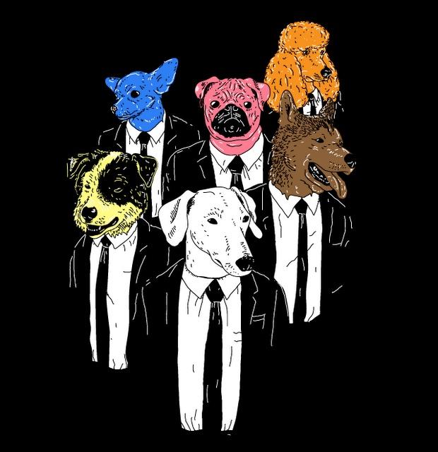 Reservoir Dogs Art Print Mr White, Mr Blonde Mr blue, Mr orange, Mr. Brown and Mr pink (hey why am i Mr pink