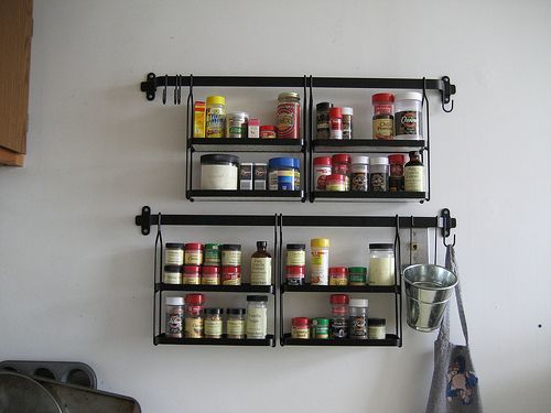 Elegant Black Metal Wall Mounted Spice Rack With Eight Space To Saving Spice  For Wall Hanging