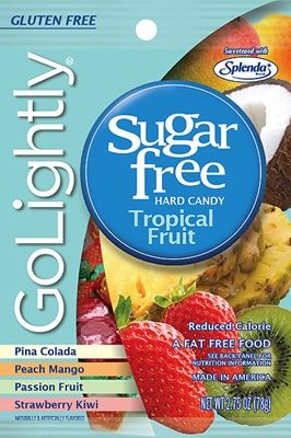 A bulk box of 12 bags of Go Lightly Tropical Fruit Hard Candy. This brilliant selection of tropical fruit flavored sugar free hard candy includes Pina Colada, Peach Mango, Passionfruit and Strawberry Kiwi.
