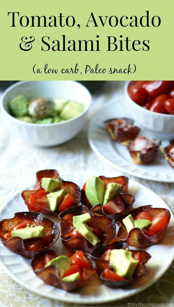 These tomato, avocado and salami bites are the perfect low carb and Paleo snack. Also would make a great low carb appetizer.