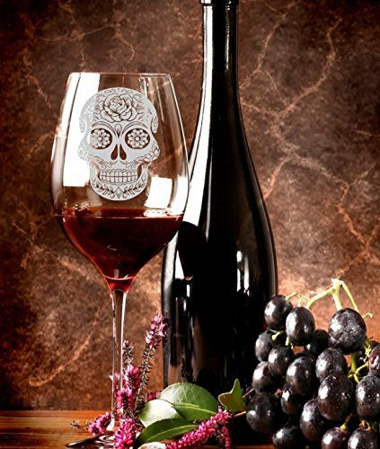 Gothic Sugar Skull - Day of the Dead - Halloween Wine Glass - Engraved Glass - Etched Wine Glass