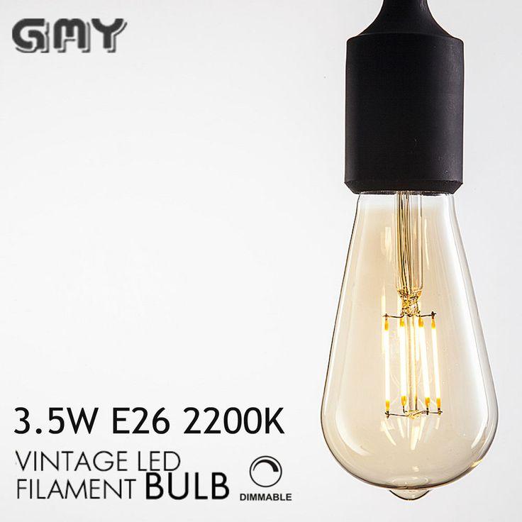 3.5W Dimmable Edison Tint Style Glass ST19 Led Filament Bulb UL E26 AC120V 2200K…