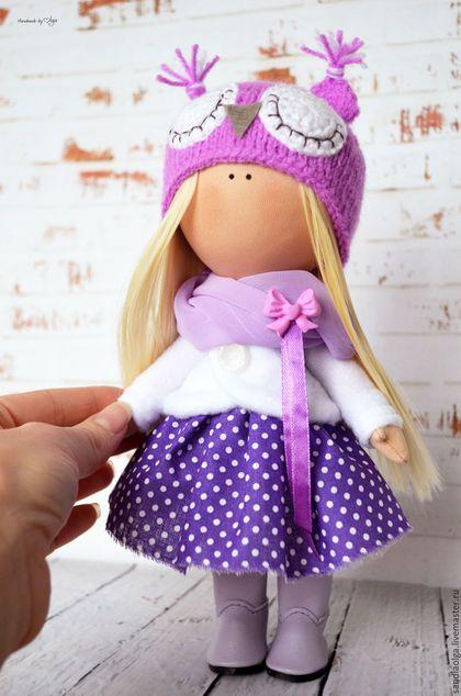 Куклы тыквоголовки ручной работы. Ярмарка Мастеров - ручная работа. Купить Анютка. Handmade. Фиолетовый, кукла текстильная