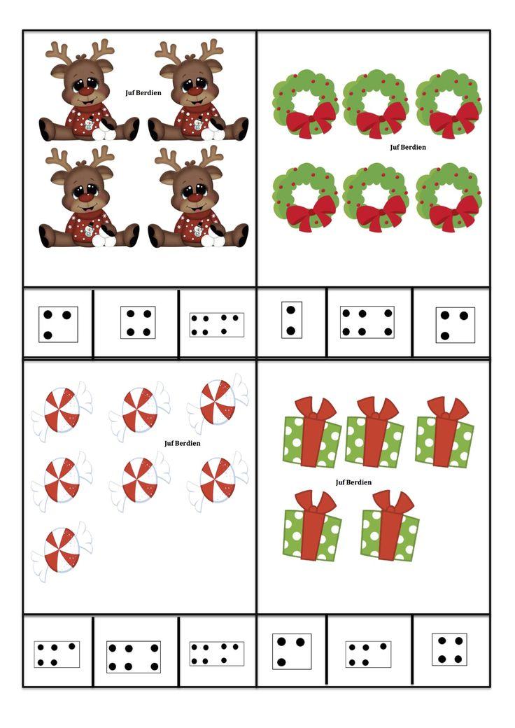 Juf Berdien zelfgemaakte telkaarten met getalbeelden thema kerstmis kleuters klas