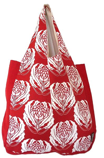 Organic Cotton Red Waratah Shopping Bag screen printed with water based dyes. Really stylish and really big for serious shoppers  $29.95. http://www.greengiftsaustralia.com.au/shop/index.php?main_page=product_info&cPath=2_59&products_id=184
