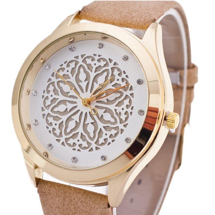Luxury Women's Watches Casual Watches Dress Wristwatches Hollow Out Flower Dial Ladies Fashion Rhinestone Women Dress Watch Leather Wristband Quartz