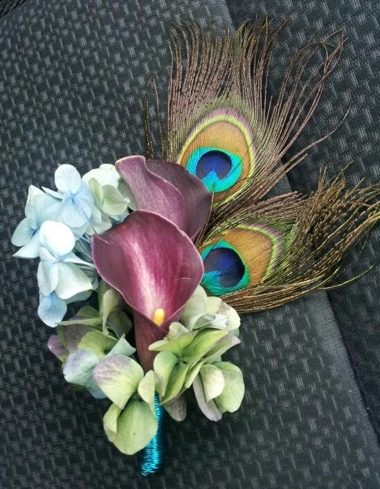 Peacock Theme ~ Calla-Lily and Hydrangea Corsage