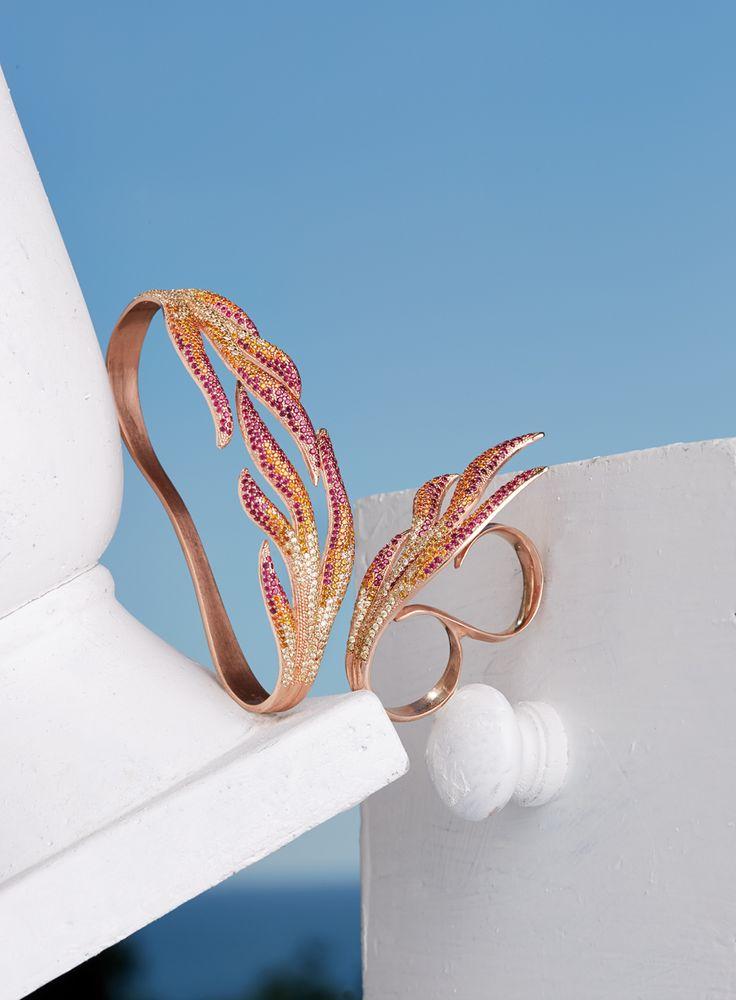 Alunno & Co. alunnosas.it Bracciale da mano e anello in argento, pietre zircone, collezione Archè, linea Fuoco