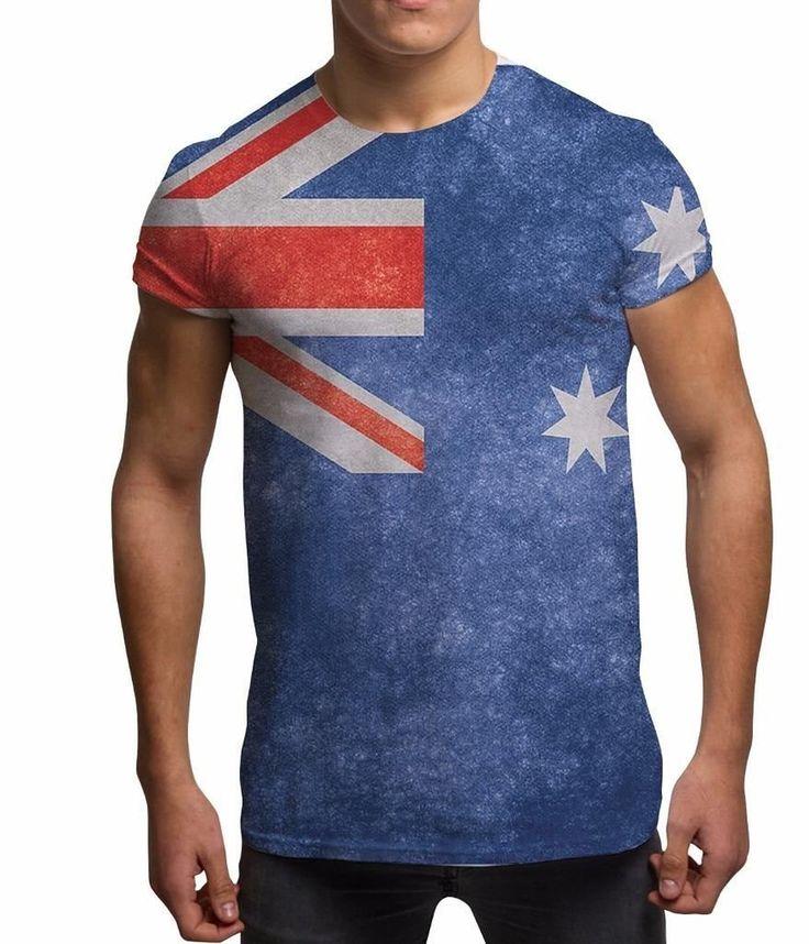 All Over Print Sublimation Druck T Shirt Grafik Shirts Herren Australische Flagge 3D T-Shirts: