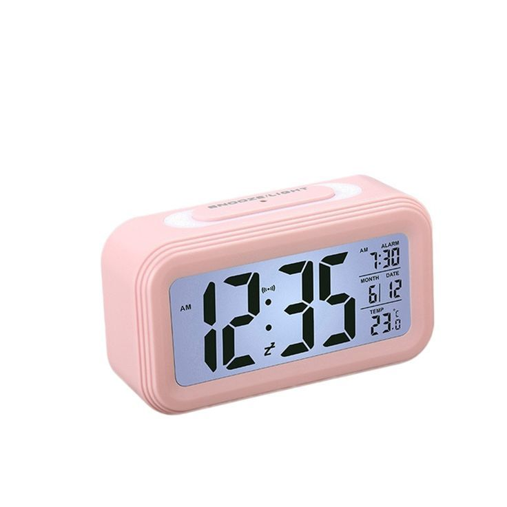 Creative Battery Operated Lcd Temperature Display Nightlight Digital Alarm Clock Pink Digital Alarm Clock Alarm Clock Cute Alarm Clock