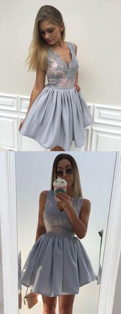 short homecoming dresses,lace homecoming dresses,grey homecoming dresses,simple homecoming dresses,YY148