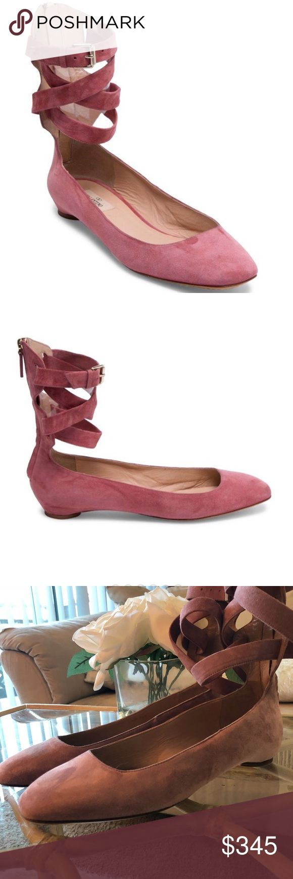 VALENTINO BALLET FLAT. GORGEOUS pink suede square toe ballet flats in suede. Tonal stitching, stacked heel, zip closure in back and adjustable ankle strap. Leather footbed and sole. Made in Italy. 100% AUTHENTIC!! Runs about a 1/2 size small. Valentino Shoes Flats & Loafers