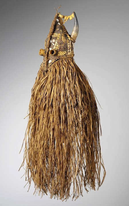 Africa | Initiation masks from the Diola or Balante people of Casamance, Senegal | ca. 19th century | Basketry, cows horns, shell and seeds.