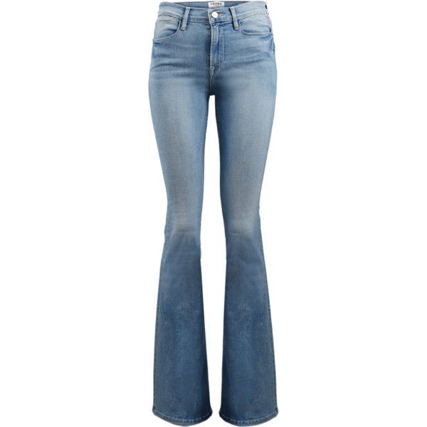 Frame Denim Le High Flare Denim Pant (149.010 CLP) ❤ liked on Polyvore featuring jeans, pants, bottoms, calças, pantalones, zipper jeans, flared denim jeans, flare jeans, frame jeans and slim fit denim jeans