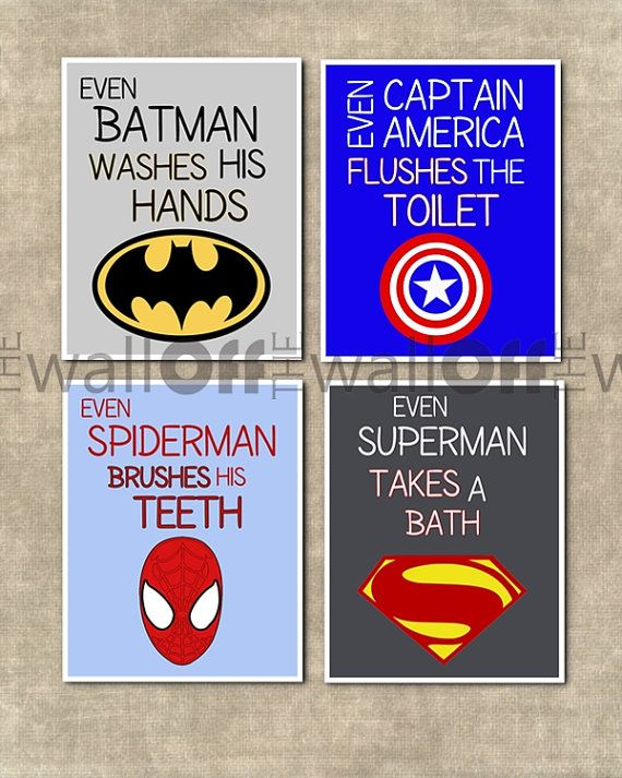 Superhero Bathroom Art Prints - Set of 4 8x10 - Captain America, Batman, Spiderman, Hulk, Iron Man, Superman, Flash, Green Lantern, etc. on Etsy, $38.00