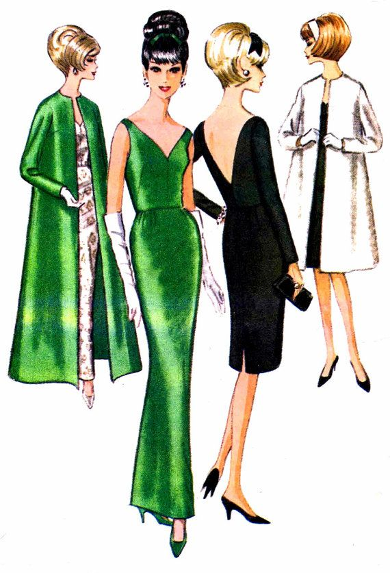 1960s McCalls 7562 Misses Low V Bare Open Back Slinky Slim Evening Dress Opera Coat Womens Vintage Sewing Pattern Size 12 Bust 32