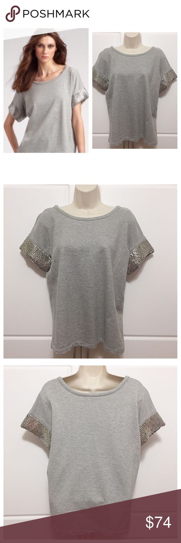 """Gryphon Studded Short Sleeve Top Fabulous silver studs on short sleeves. Heather grey sweatshirt material. Great with jeans! Great Gryphon quality! Measurements: bust 20"""", length 22.75"""" Gryphon Tops"""