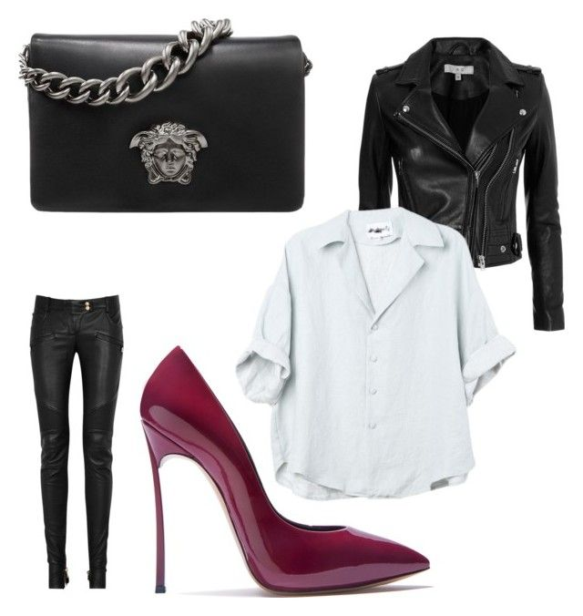 """""""Black white red"""" by aleksaaryal on Polyvore featuring Versace, IRO, Balmain and Casadei"""