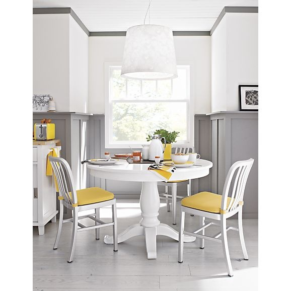 Avalon 45 white extension dining table crate and barrel for Crate and barrel dining room ideas