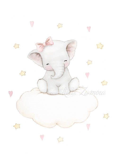 Nursery Art ELEPHANT CLOUD Art Print pink Illustration.
