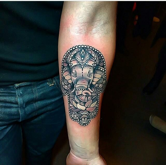 elephant head hamsa done by Grant @ Red Baron Ink in NYC