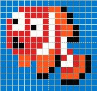 Small Nemo chart for cross stitch, knitting, knotting, beading, weaving, pixel art, and other crafting projects.