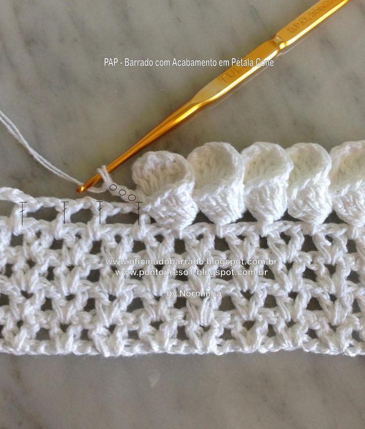 Petal Cone stitch - http://oficinadobarrado.blogspot.ca/2013/05/croche-pap-barrado-com-acabamento-em.html