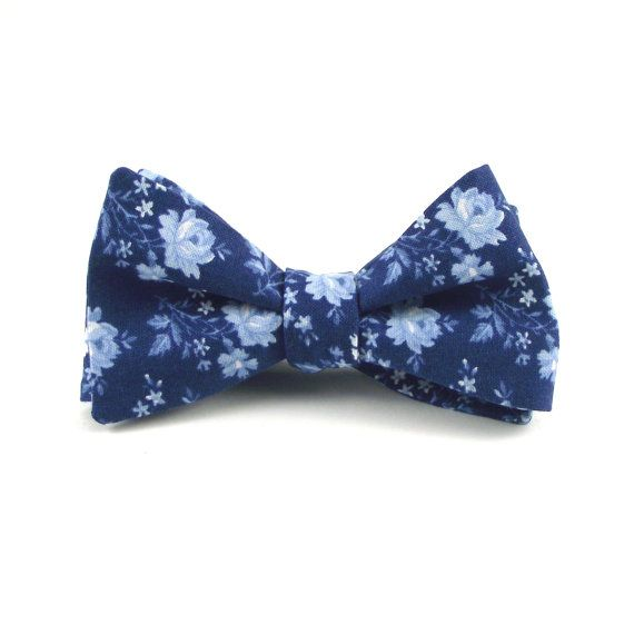 Navy Blue Bow Tie, Men's Navy Blue and Light Blue Floral Bowtie - Groom's Wedding Self Tie Bow Tie with Adjustable Hardware