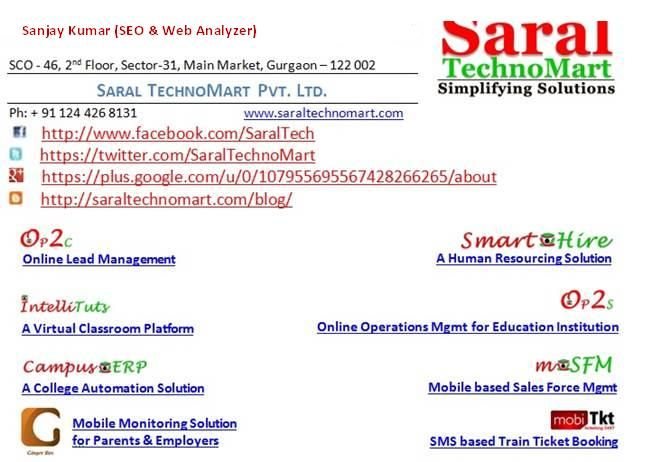 We provide web based user friendly , cost effective school, college, education , private institute management software for you. We have a selected software developer team, who work on campu erp, school erp , web development and mobile application. If you need erp web based software then directly conatct to us  wwww.saraltechnomart.com