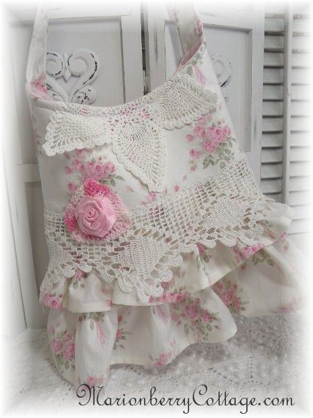 Idea for handmade tote bag - can use pretty fabric, lace, doily and handmade fabric/ribbon flower.
