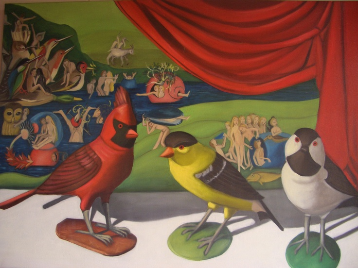 Nicola Semmens 'Birds of a feather'. Oil on canvas