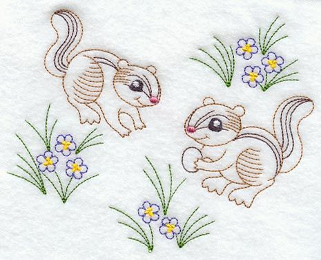 Image by EMROIDERY LIBRARY INC - Vintage-Stitch Chipmunk Duo