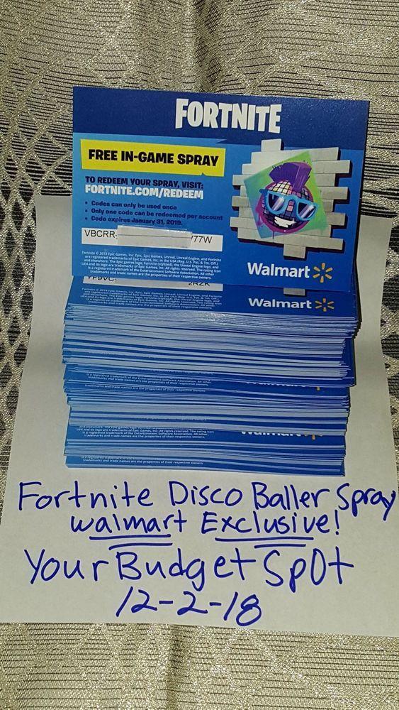 Fortnite Walmart Exclusive Boogie Spray Code Sent Via Ebay